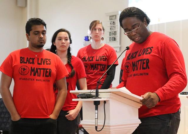 Black Lives Matter of Greater Burlington at the emergency community meeting - COURTNEY LAMDIN
