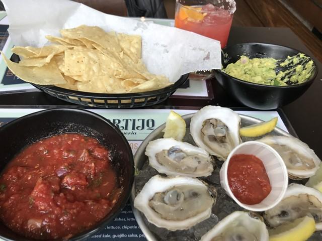 Oysters and guacamole at El Cortio in Winooski - SALLY POLLAK