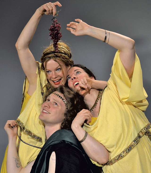 From left: Chris Caswell, Sean Martin and Blythe Usher in O, Caligula! in 2015 - COURTESY OF SAINTS & POETS PRODUCTION COMPANY
