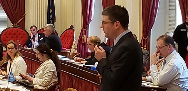 Rep. Matthew Trieber (D-Bellows Falls) presents the amended version of the minimum wage bill. - KEVIN MCCALLUM