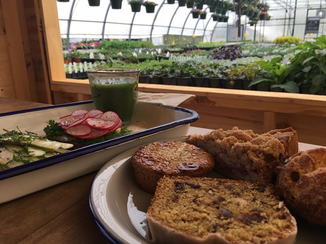Vadeboncoeur treats in greenhouse No. 3 at Red Wagon Plants - MELISSA PASANEN