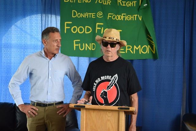 Neil Young pledges $100,000 Sunday to Gov. Peter Shumlin toward Vermont's legal battle over the state's GMO labeling law. - TERRI HALLENBECK