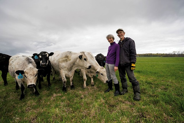 Co-owners Joan Falcao (left) and her partner Bob Fireovid with the herd at Health Hero Farm - DARIA BISHOP
