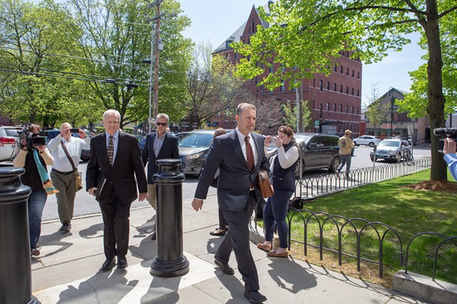 Bill Stenger, left, arriving at federal court with attorney Brooks McArthur - LUKE AWTRY