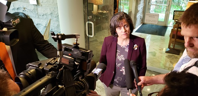 House Speaker Mitzi Johnson announces Friday that the House would adjourn without reaching a deal on key Democratic priorities. - KEVIN MCCALLUM