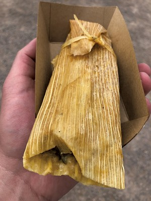 Tamale from Gracie's Tamales and Burritos - DAVID HOLUB