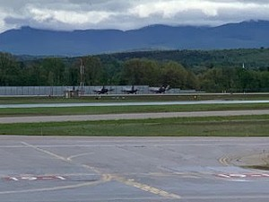 Four F-35s parked at Burlington International Airport - COURTESY: GENE RICHARDS