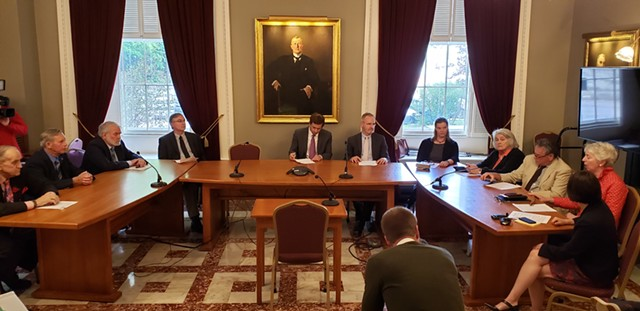 Senators held a caucus Wednesday to discuss the accomplishments of the session. - KEVIN MCCALLUM