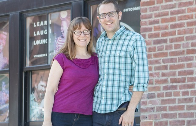 Natalie Miller and Nathan Hartswick in front of the future VCC - DAN BOLLES
