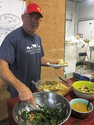Bruce Hennessey serving up a fried chicken dinner at Maple Wind Farm - COURTESY IMAGE