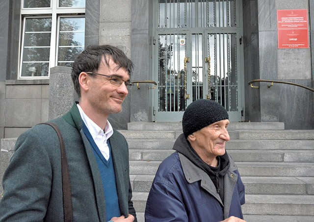 Jack Fairweather (left) with Bohdan Walasek, 89, who fought alongside Witold Pilecki in the Warsaw uprising - OURTESY OF JACK FAIRWEATHER