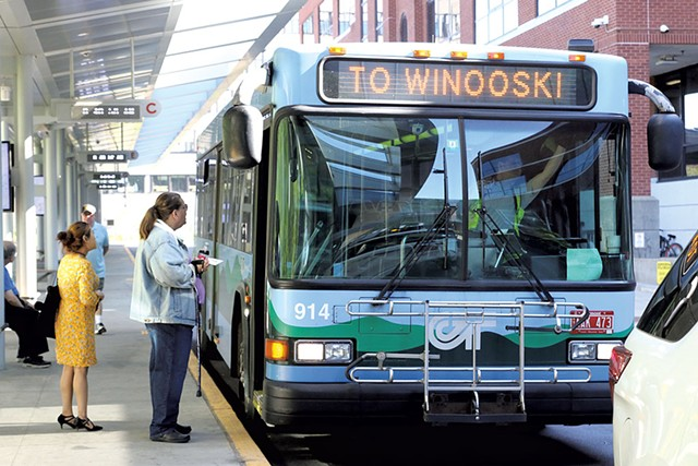 Passengers at the downtown Green Mountain Transit center - COURTNEY LAMDIN