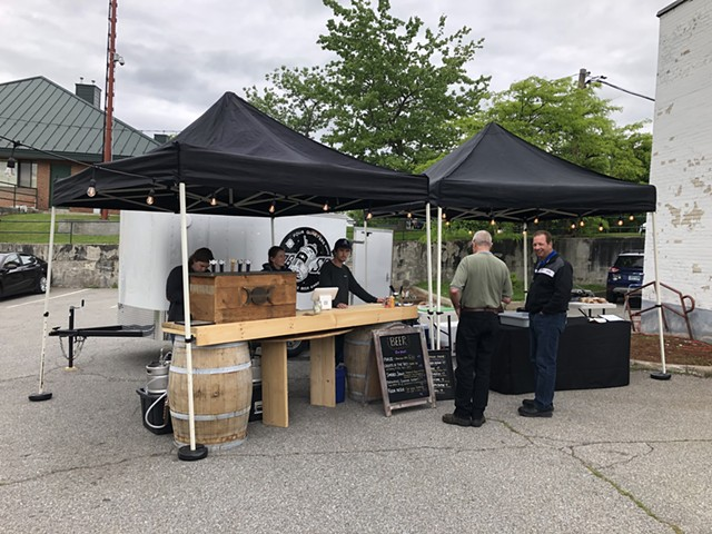 Beer garden at former bank in Winooski - COURTESY OF FOUR QUARTERS BREWING
