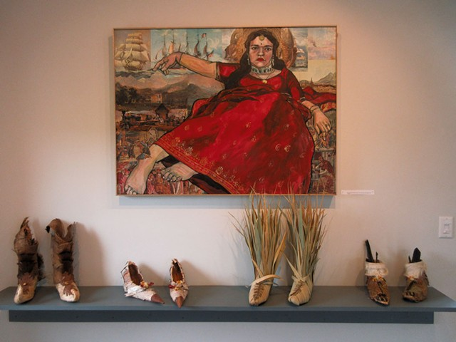 """""""Giant Asian Girl: Mina"""" by Misoo; boots and shoes by Wendy Copp (from left): """"I Went A-Wandering,"""" """"Run Away Bride,"""" """"Walkin' Through the Rye,"""" and """"Wild Thing 3"""" - AMY LILLY"""