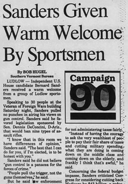 An October 22, 1990, account of Bernie Sanders' visit to a gathering of sportsmen in Ludlow - RUTLAND HERALD