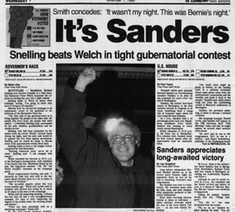 A November 7, 1990, account of Sanders' victory over Smith in Vermont's race for the U.S. House - BURLINGTON FREE PRESS