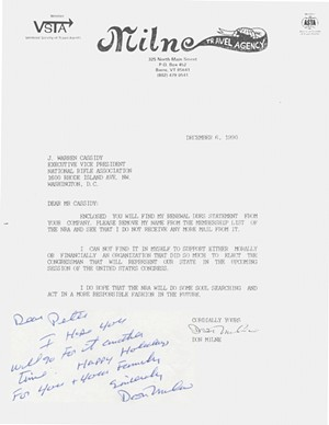 Don Milne wrote the NRA on December 6, 1990, to cancel his membership over its support for Bernie Sanders — and then sent a copy of the letter to Peter Smith - VERMONT HISTORICAL SOCIETY