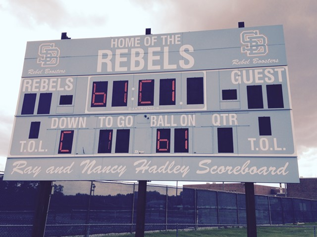 The scoreboard at South Burlington High School - MOLLY WALSH/SEVEN DAYS