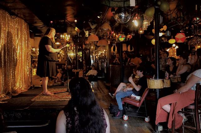 Druidical poet Elizabeth Horstmann reading at Lit Club at the Light Club - COURTESY OF BRIDGET HIGDON