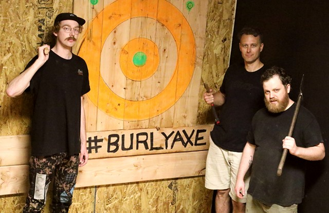 Jules Townsend, Mike Garber and Jesse Snyder of Burly Axe Throwing - COURTNEY LAMDIN