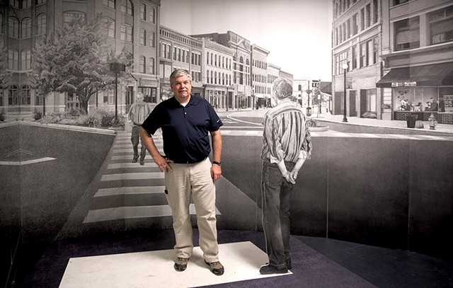 "Mark Foley Jr. standing in ""The Rutland Drawing"" installation, by William Ramage - CALEB KENNA"