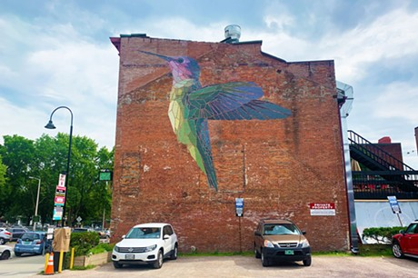 "Mary Lacy's ""Humminbird"" mural on the cornere of St. Paul and College streets in Burlington - JOHN JAMES"