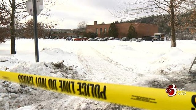 A still from WCAX's report on a police shooting at Montpelier High School in January 2018 - SCREENSHOT