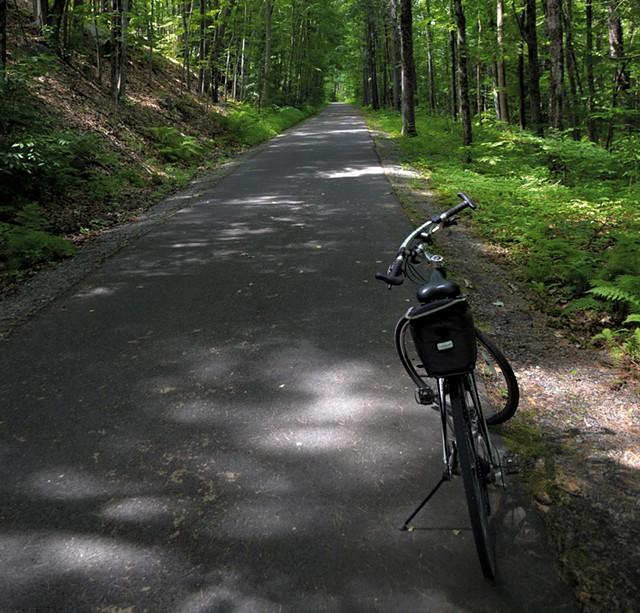 The Warren County Bikeway, heading north to Lake George