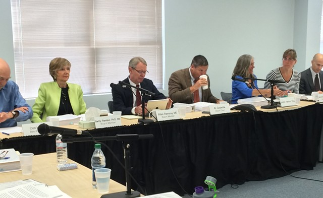 The Green Mountain Care Board hears testimony on Blue Cross rates. - NANCY REMSEN