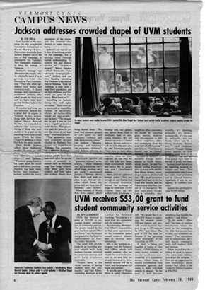 A Vermont Cynic story on Rev. Jesse Jackson's February 1988 visit to Vermont - BERNARD SANDERS PAPERS, SPECIAL COLLECTIONS, UNIVERSITY OF VERMONT LIBRARY