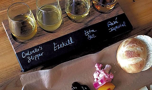 Eden Specialty Ciders flight with food pairings - COURTESY OF EDEN SPECIALTY CIDERS