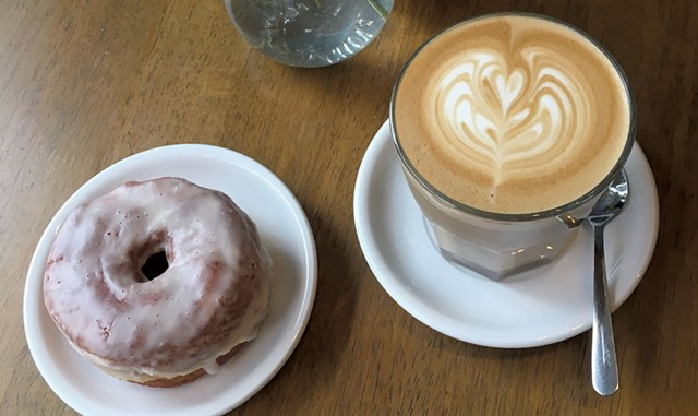 Latte and doughnut at Carrier Roasting - COURTESY OF CARRIER ROASTING