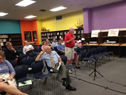Bob Walsh speaks at Wednesday's South Burlington School Board meeting. - MOLLY WALSH