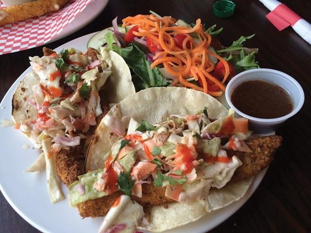 Fish tacos at Manhattan Pizza & Pub - ALICE LEVITT