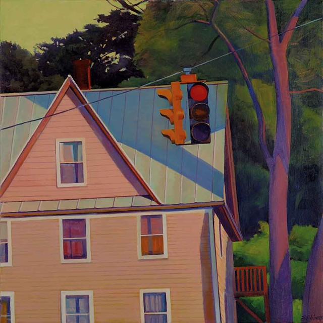 """Small Town Intersection, Evening"""