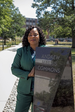Among Heading-Grant's proudest achievements was the creation of the Andrew Harris Commons.  Dedicated in October 2018, the Commons honors Andrew Harris, UVM's first African American graduate. At his commencement ceremony in 1838, none of his white classmates would walk across the stage with him. After leaving Burlington, Harris went on to become a Presbyterian minister and abolitionist, respected by black and white clergymen. The Commons, situated between the Howe Library and the Davis Center, is the first outdoor space on campus named for a person of color. - LUKE AWTRY