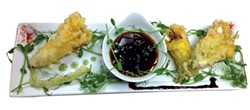 Tempura-fried, Boursin Stuffed Squash Blossoms - COURTESY OF LE BELVEDERE