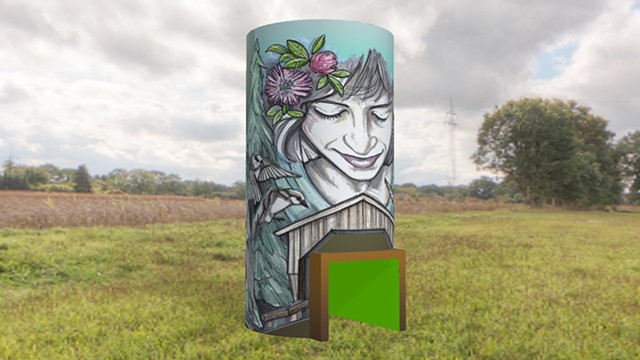 A projection of Rutherford's design on a Jeffersonville silo - COURTESY OF SARAH C. RUTHERFORD