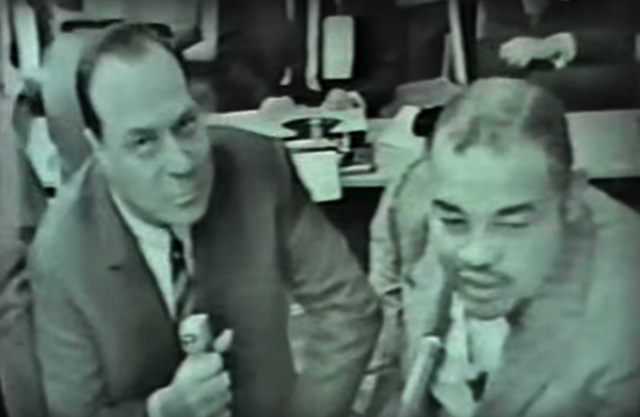 Commentators Steve Ellis and Joe Louis.