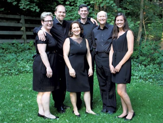 Green Mountain Monteverdi Ensemble of Vermont, from left: Carolyn Dickinson, Adam Hall, Lindsey Warren, Stephen Falbel, Erik Nielsen and Molly Clark - COURTESY PHOTO
