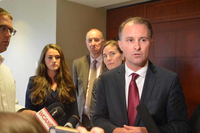 Attorney General T.J. Donovan addressing the media - SASHA GOLDSTEIN