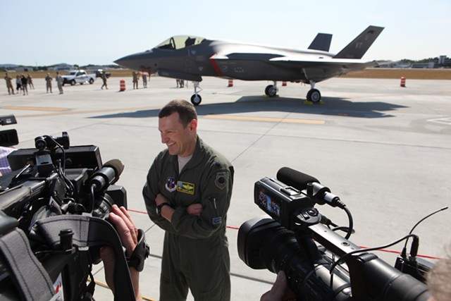 Lt. Col. Tony Marek speaks to the media after flying one of the Air Guard's two new F-35s from Texas to Burlington. - KEVIN MCCALLUM