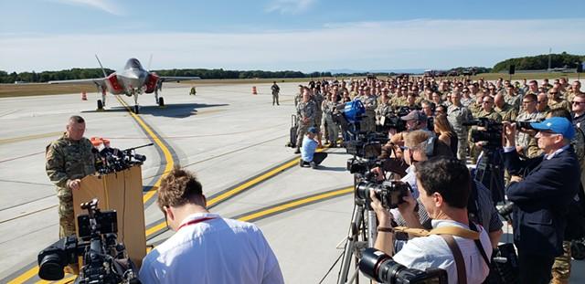 Vermont National Guard Adjutant Gen. Greg Knight speaking to the crowd - KEVIN MCCALLUM