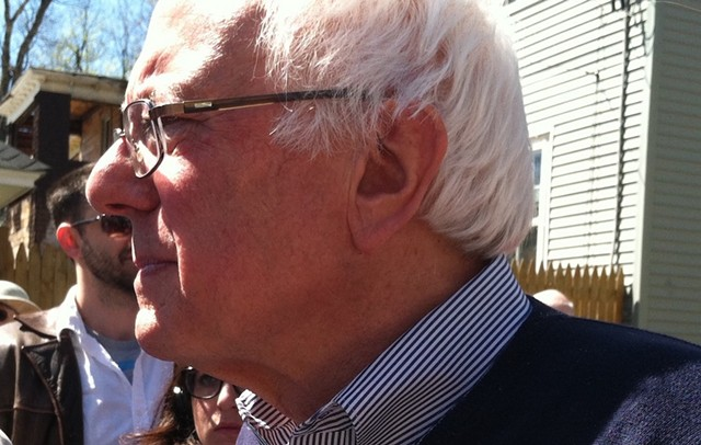 Sen. Bernie Sanders (I-Vt.) on the presidential campaign trail in New Hampshire in May - TERRI HALLENBECK