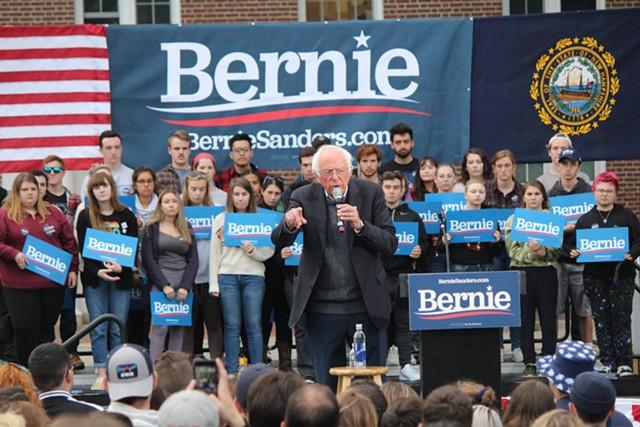 Sen. Bernie Sanders campaigns at the University of New Hampshire on Monday. - PAUL HEINTZ