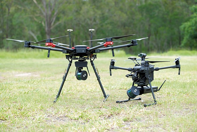 Drones outfitted with MicroStrain's Emesent application - COURTESY OF LORD SENSING MICROSTRAIN SYSTEMS