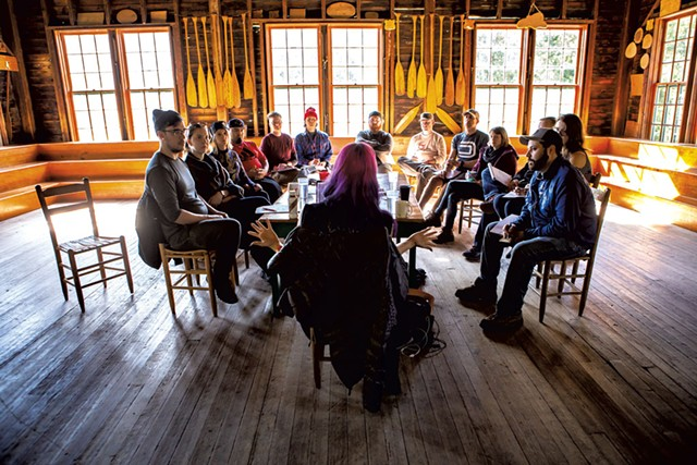 Satine Phoenix leads a seminar on storytelling at Camp Mograph in North Hero - LUKE AWTRY