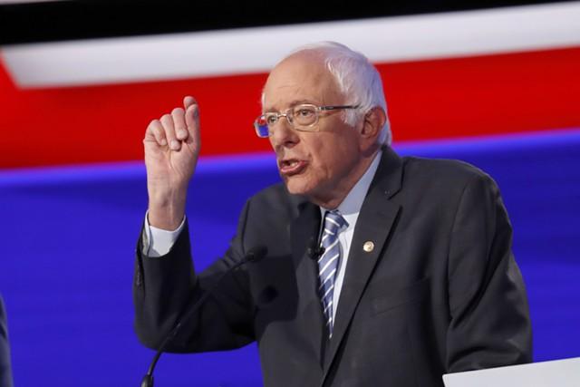 Sen. Bernie Sanders at Tuesday's debate in Ohio - JOHN MINCHILLO/ASSOCIATED PRESS