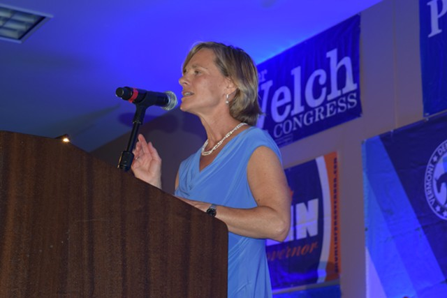 Sue Minter at a Democratic Party dinner in June - FILE: TERRI HALLENBECK