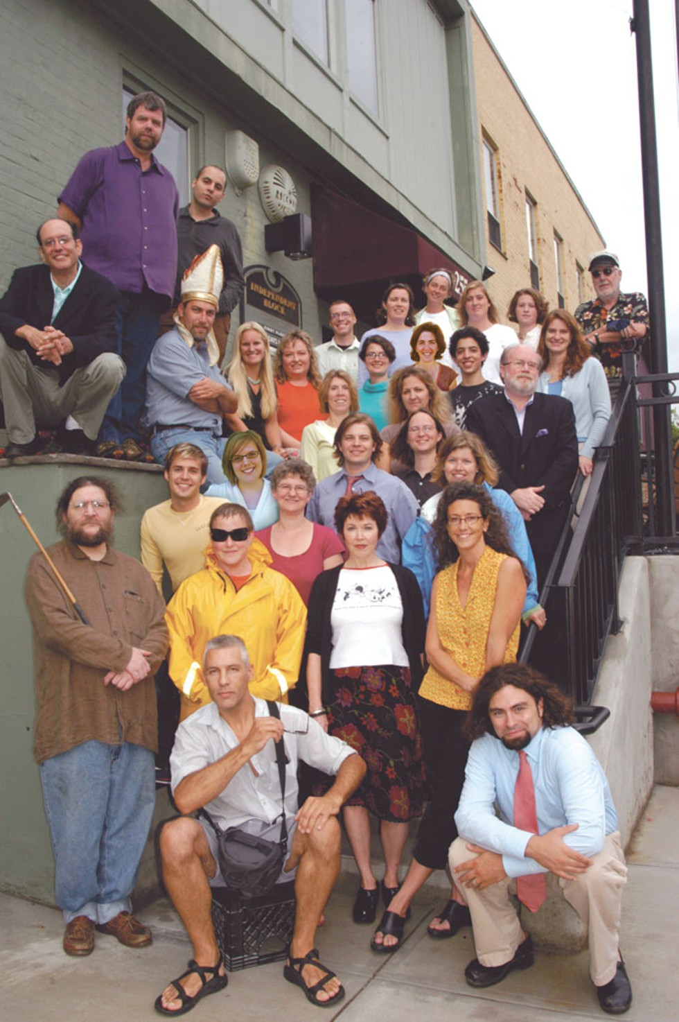 ON THE STEPS: IN FRONT: Matthew Thorsen, Colby Roberts. - FIRST ROW: Marc Awodey, Diane Sullivan, Pamela Polston, Paula Routly. - SECOND ROW: Don Eggert, Allison Davis, Ruth Horowitz, Michael Bradshaw, Cathy Resmer, Katherine Reilly-Fitz Patrick. - THIRD ROW: Michelle Brown, Leslie O'Halloran, Rick Kisonak. - FOURTH ROW: Elisabeth Crean, Meghan Dewald, Joanna May, Sam Horowitz, Sarah Potter. - TOP ROW: Jonathan Bruce, Judy Beaulac, Krystal Woodward, Robyn Birgisson, Priscilla Steenec, Peter Freyne. - ON THE LEDGE, STANDING: Rick Woods, Casey Rea. SITTING: Jernigan Pontiac, Ken Picard, Sarah Tuff. - NOT PICTURED: Columnists Peter Kurth, Margot Harrison, Susan Green and Judith Levine; photographers Jordan Silverman, Andy Duback, Jay Ericson and Jeb Wallace-Brodeur; our freelance illustrators and cartoonists; and circulation team: Harry Appelgate, Christopher Billups, Rob Blevins, the Bouffards — David Jr., David Sr., Joe and Pat — Steve Hadeka, Abram Harrison, Justin Hart, Nick Kirshnit, Jack Lutz, Nat Michael and Bill Stone. - PHOTO: Matthew Thorsen.